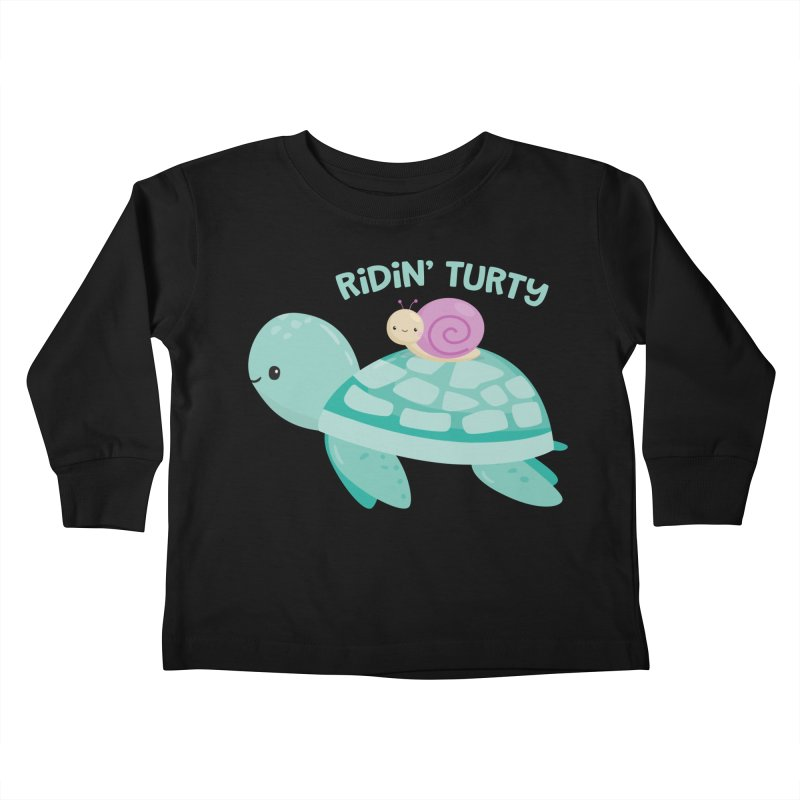 Ridin' Turty Kids Toddler Longsleeve T-Shirt by FunUsual Suspects T-shirt Shop