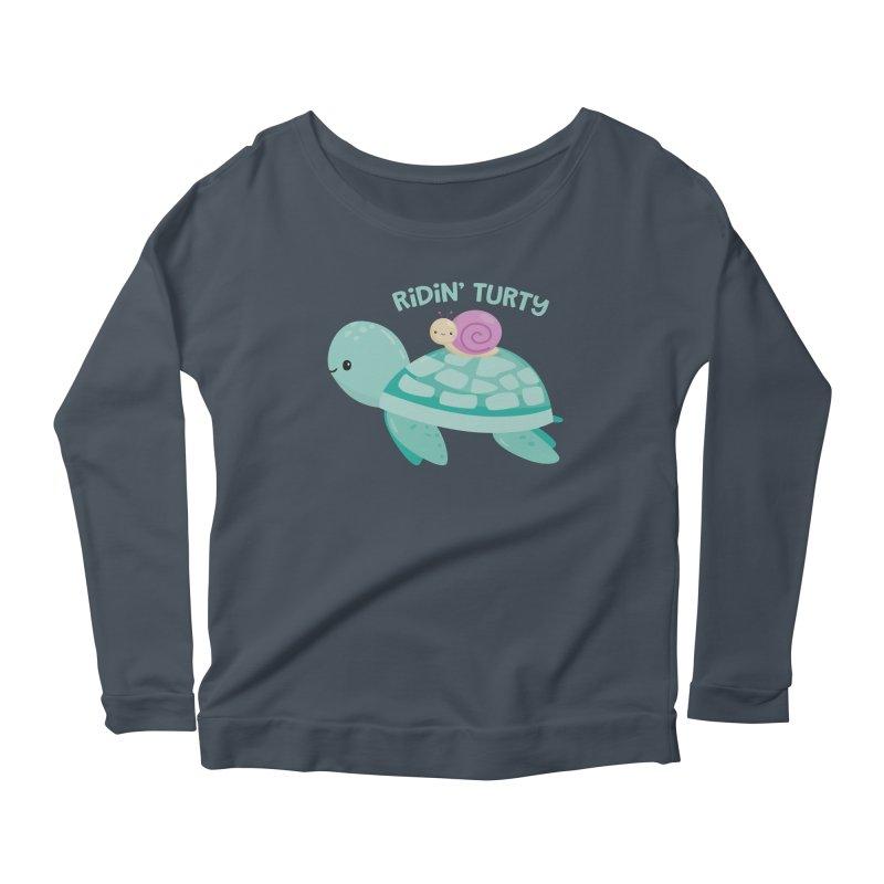 Ridin' Turty Women's Scoop Neck Longsleeve T-Shirt by FunUsual Suspects T-shirt Shop