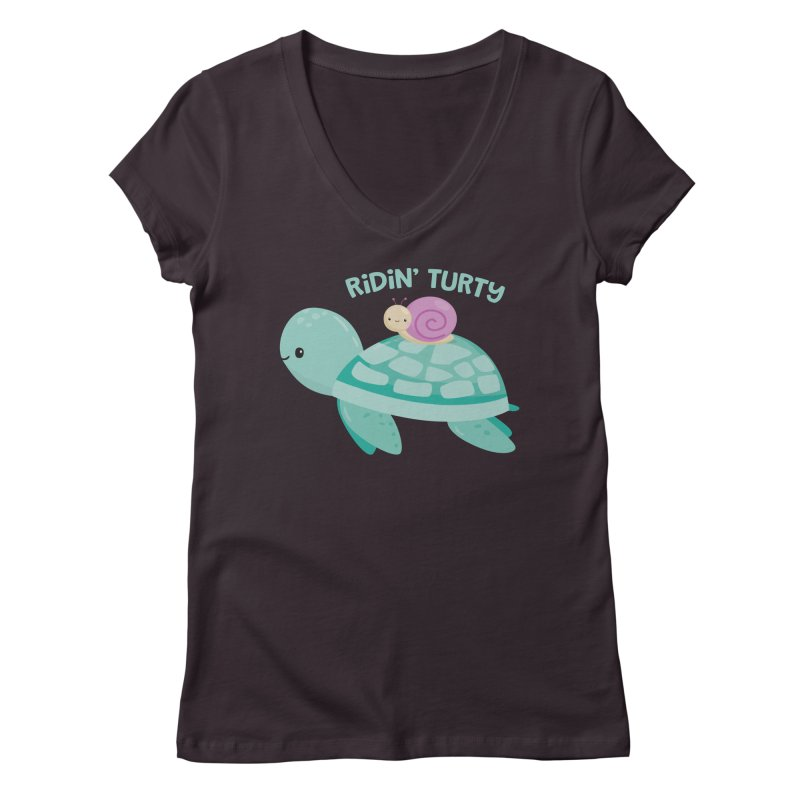 Ridin' Turty Women's Regular V-Neck by FunUsual Suspects T-shirt Shop