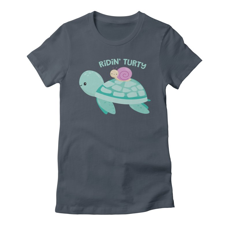 Ridin' Turty Women's Fitted T-Shirt by FunUsual Suspects T-shirt Shop