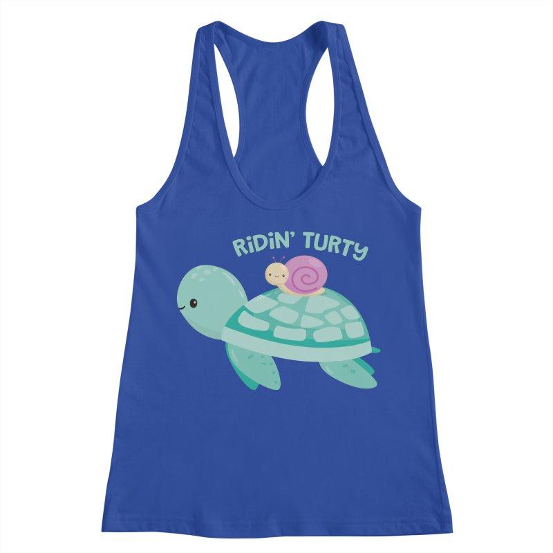 Ridin' Turty Women's Racerback Tank by FunUsual Suspects T-shirt Shop