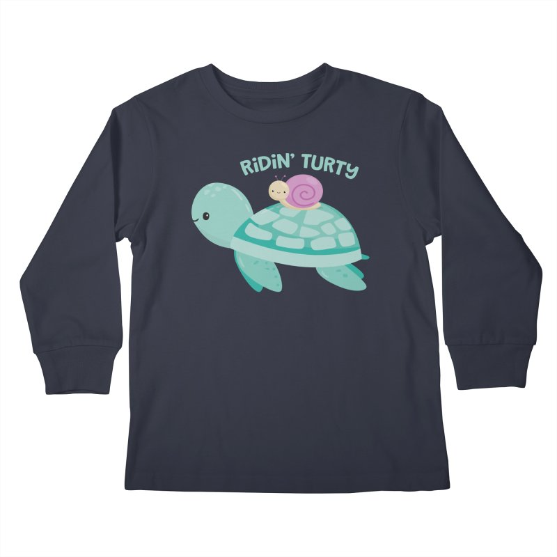 Ridin' Turty Kids Longsleeve T-Shirt by FunUsual Suspects T-shirt Shop