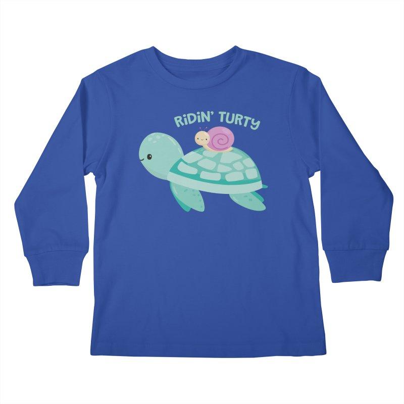Ridin' Turty Kids Longsleeve T-Shirt by FunUsual Suspects T-shirt Shop