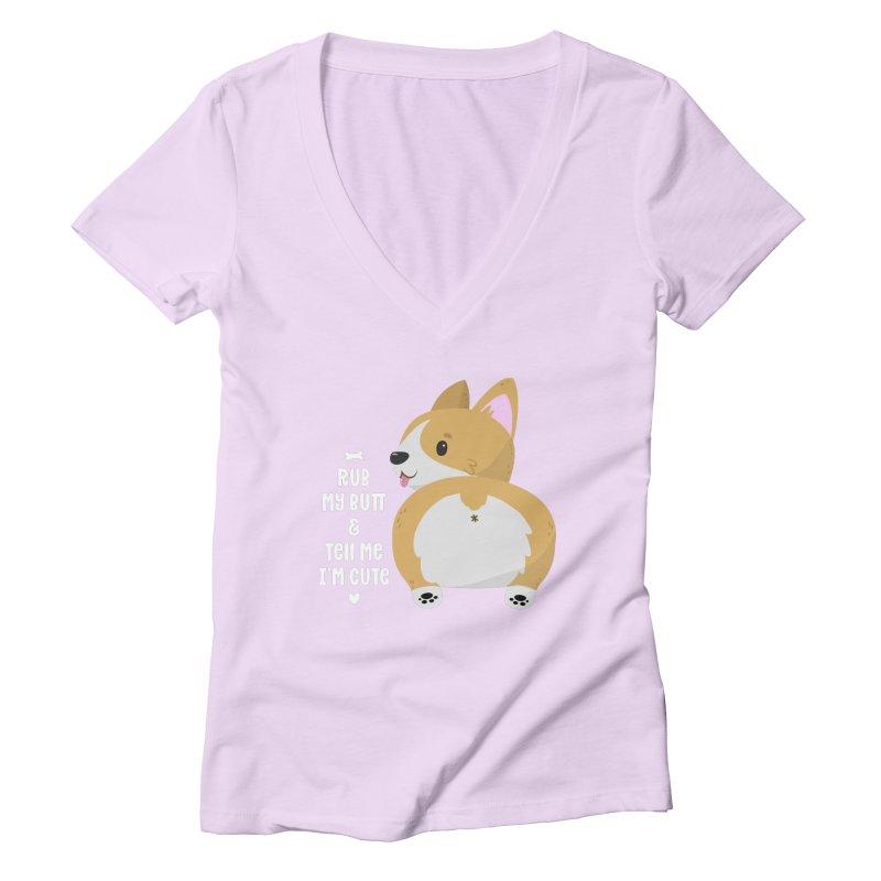 Rub My Butt Women's Deep V-Neck V-Neck by FunUsual Suspects T-shirt Shop
