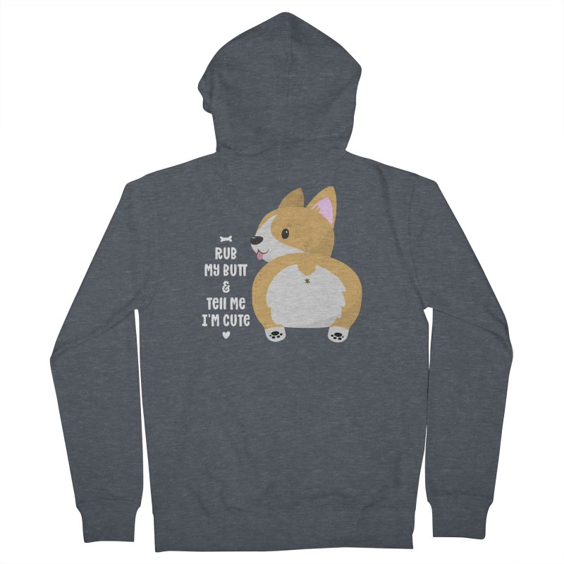 Rub My Butt Men's French Terry Zip-Up Hoody by FunUsual Suspects T-shirt Shop