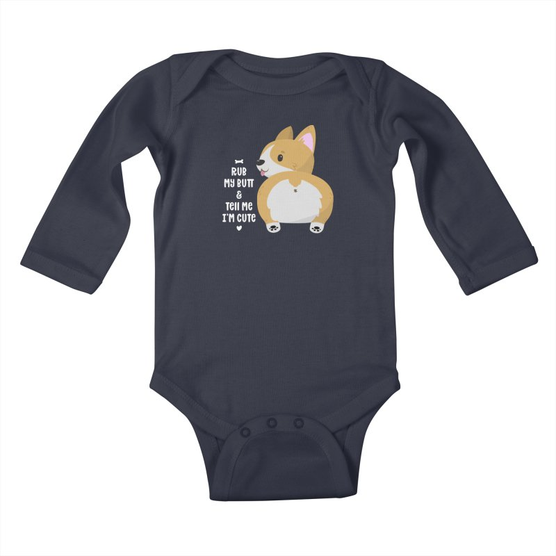 Rub My Butt Kids Baby Longsleeve Bodysuit by FunUsual Suspects T-shirt Shop