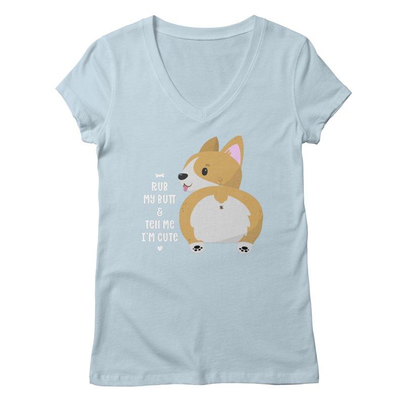 Rub My Butt Women's V-Neck by FunUsual Suspects T-shirt Shop