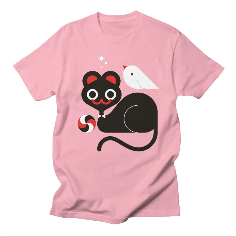 Cat & Bird Men's Regular T-Shirt by Fwlk
