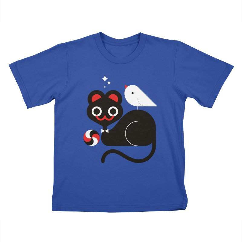 Cat & Bird Kids T-Shirt by Fwlk