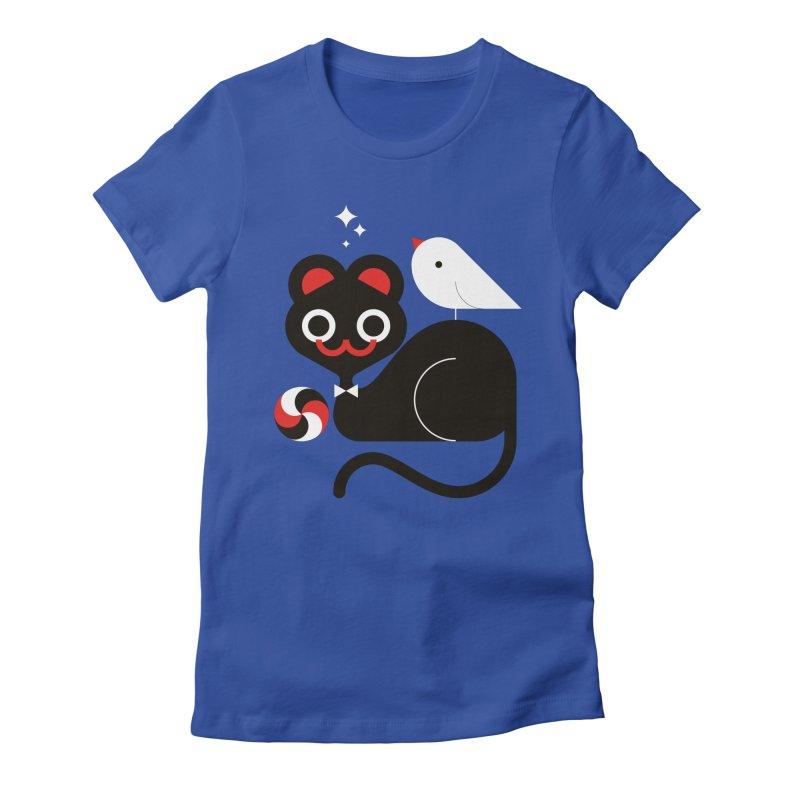 Cat & Bird Women's Fitted T-Shirt by Fwlk
