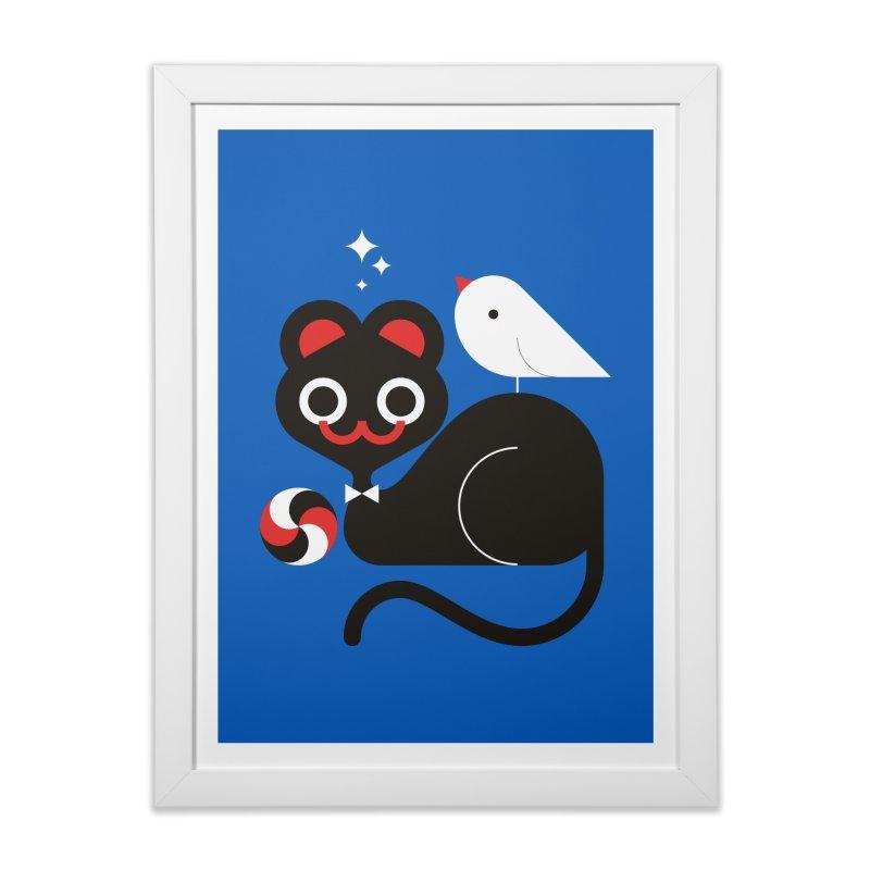 Cat & Bird Home Framed Fine Art Print by Fwlk