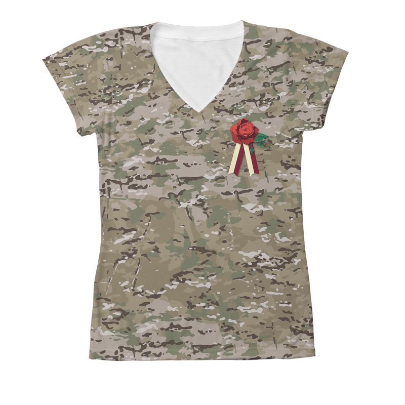 Florals & MultiCAM Women's V-Neck All Over Print by FWMJ's Shop