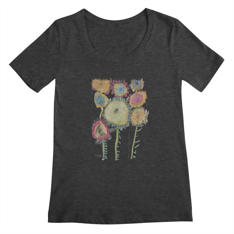 Bouquet of Fleurs Women's Scoopneck by Gabe and Taytay Artist Shop