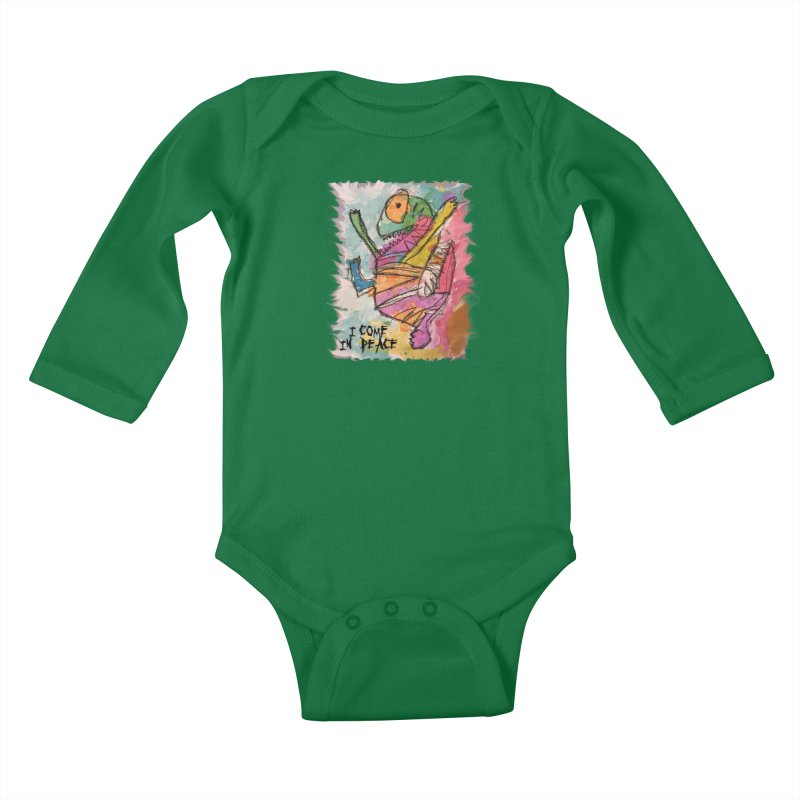 I Come in Peace Monster - Gabe Kids Baby Longsleeve Bodysuit by Gabe and Taytay Artist Shop
