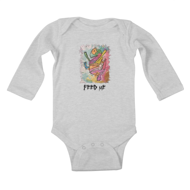 Feed Me Monster Kids Baby Longsleeve Bodysuit by Gabe and Taytay Artist Shop