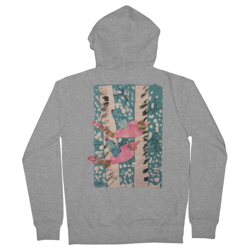 Snowy Aspen Birds Women's Zip-Up Hoody by Gabe and Taytay Artist Shop