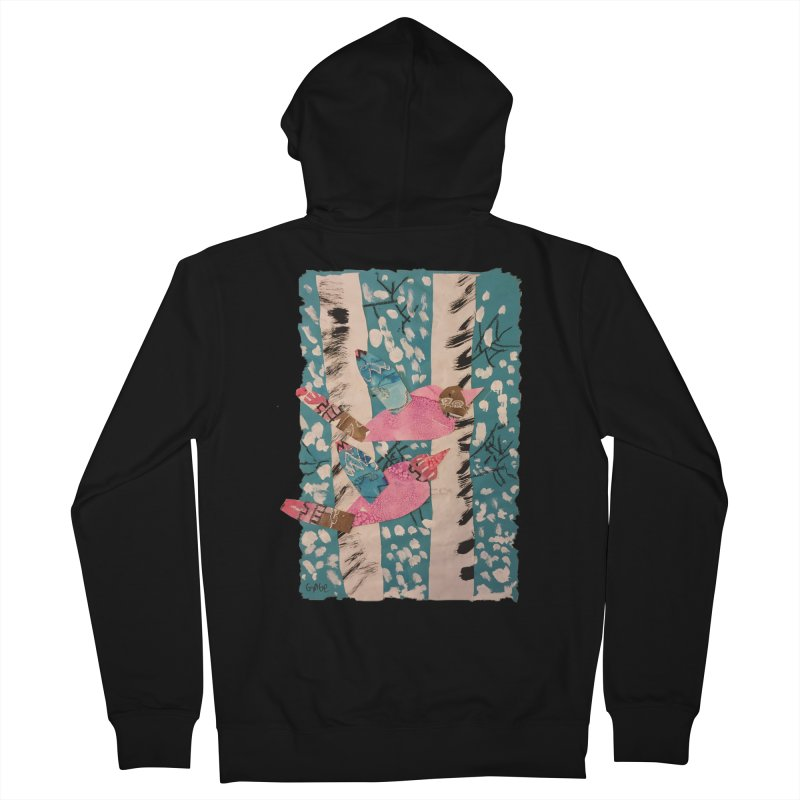 Snowy Aspen Birds Women's French Terry Zip-Up Hoody by Gabe and Taytay Artist Shop