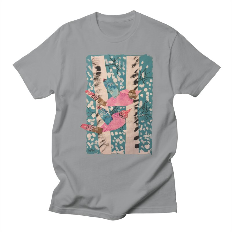 Snowy Aspen Birds Men's T-Shirt by Gabe and Taytay Artist Shop
