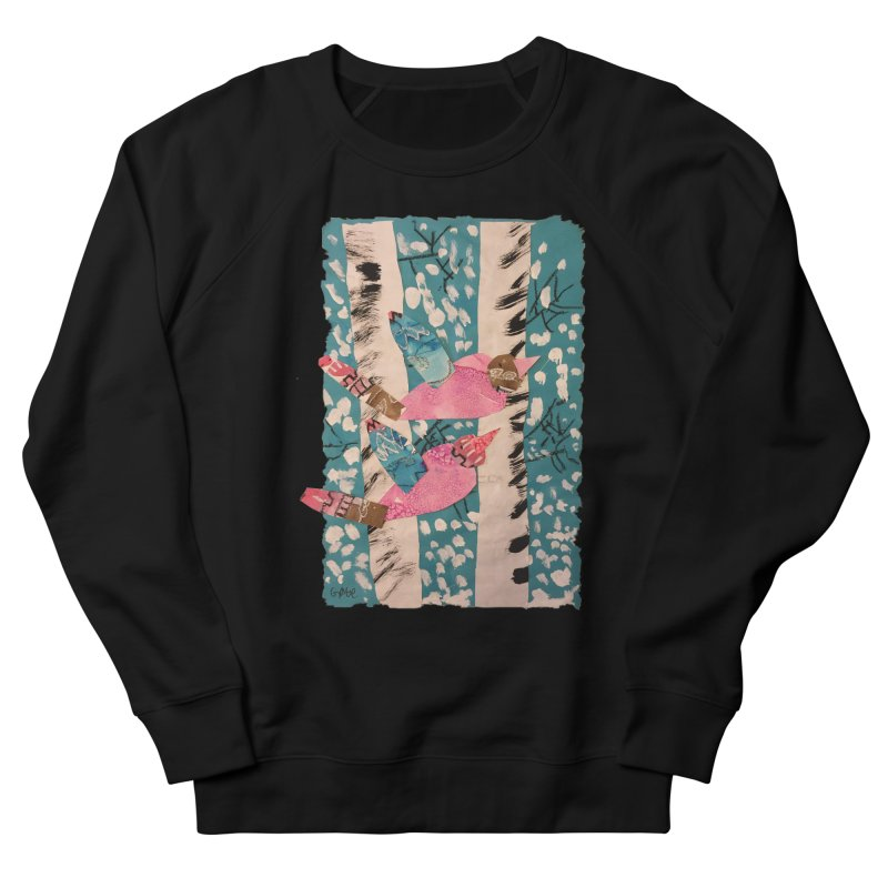 Snowy Aspen Birds Women's French Terry Sweatshirt by Gabe and Taytay Artist Shop