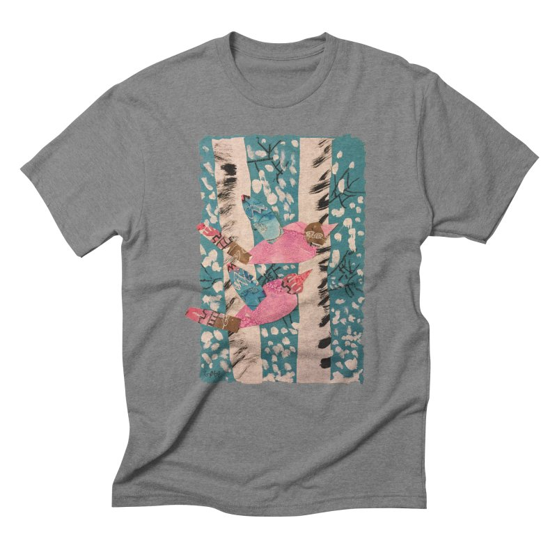 Snowy Aspen Birds Men's Triblend T-shirt by Gabe and Taytay Artist Shop