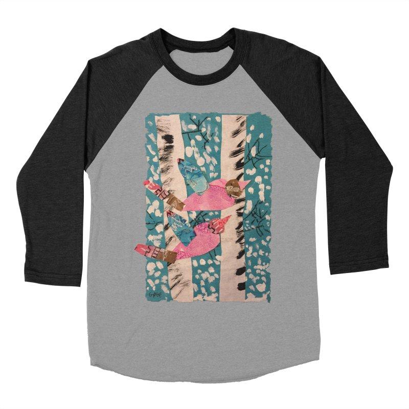 Snowy Aspen Birds Men's Baseball Triblend Longsleeve T-Shirt by Gabe and Taytay Artist Shop