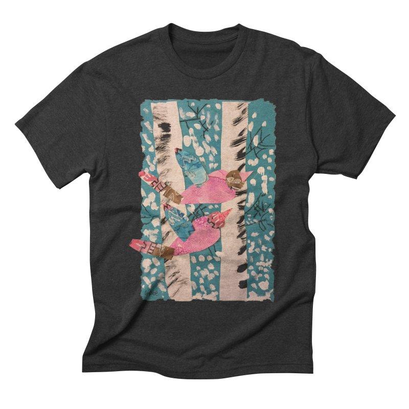 Snowy Aspen Birds Men's Triblend T-shirt by Gabe and Taytay Artist Shop