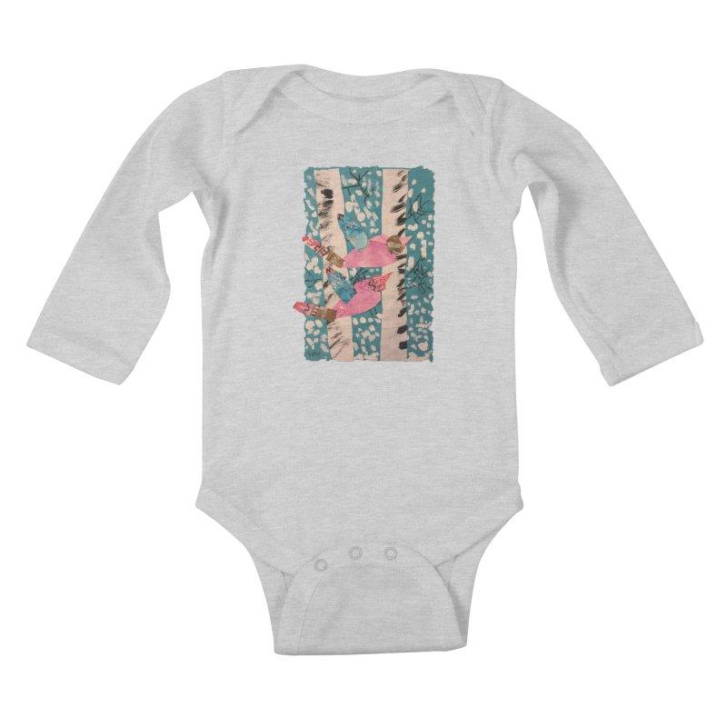 Snowy Aspen Birds Kids Baby Longsleeve Bodysuit by Gabe and Taytay Artist Shop
