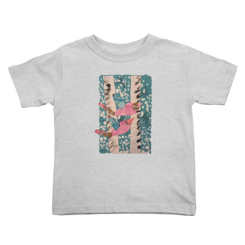 Snowy Aspen Birds Kids Toddler T-Shirt by Gabe and Taytay Artist Shop