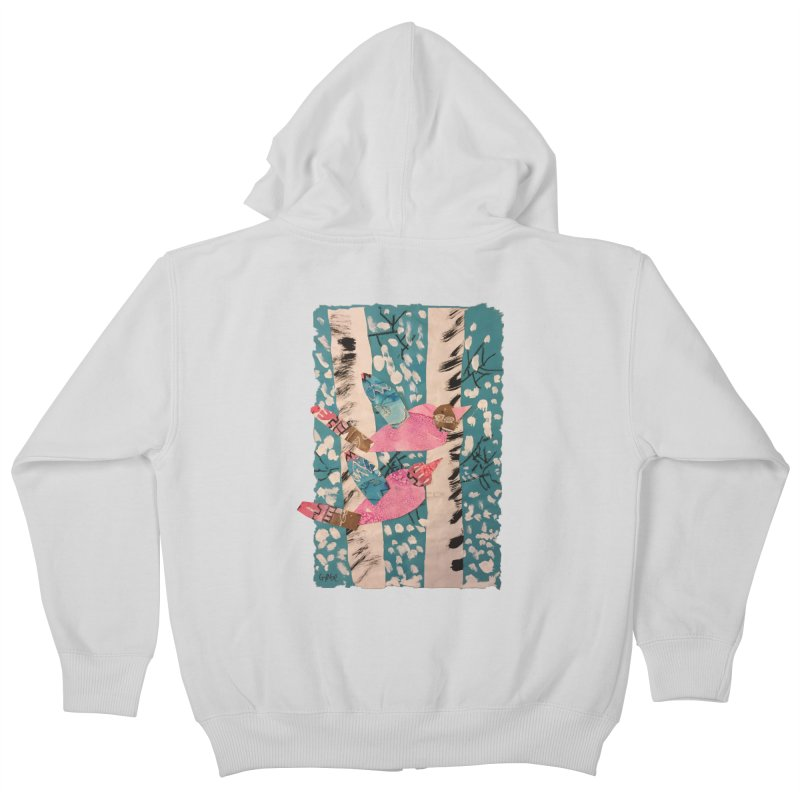 Snowy Aspen Birds Kids Zip-Up Hoody by Gabe and Taytay Artist Shop