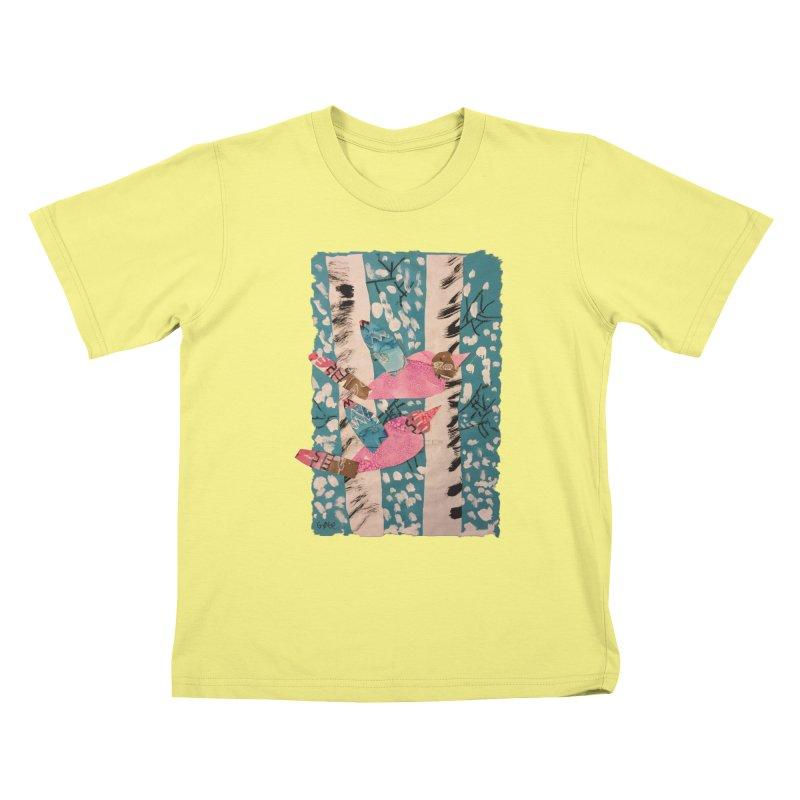 Snowy Aspen Birds Kids T-shirt by Gabe and Taytay Artist Shop