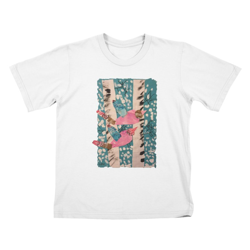 Snowy Aspen Birds Kids T-Shirt by Gabe and Taytay Artist Shop