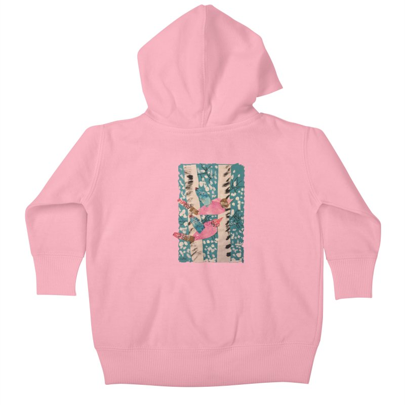Snowy Aspen Birds Kids Baby Zip-Up Hoody by Gabe and Taytay Artist Shop