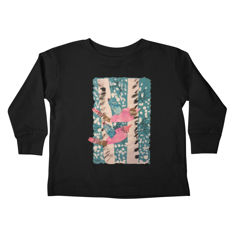 Snowy Aspen Birds Kids Toddler Longsleeve T-Shirt by Gabe and Taytay Artist Shop