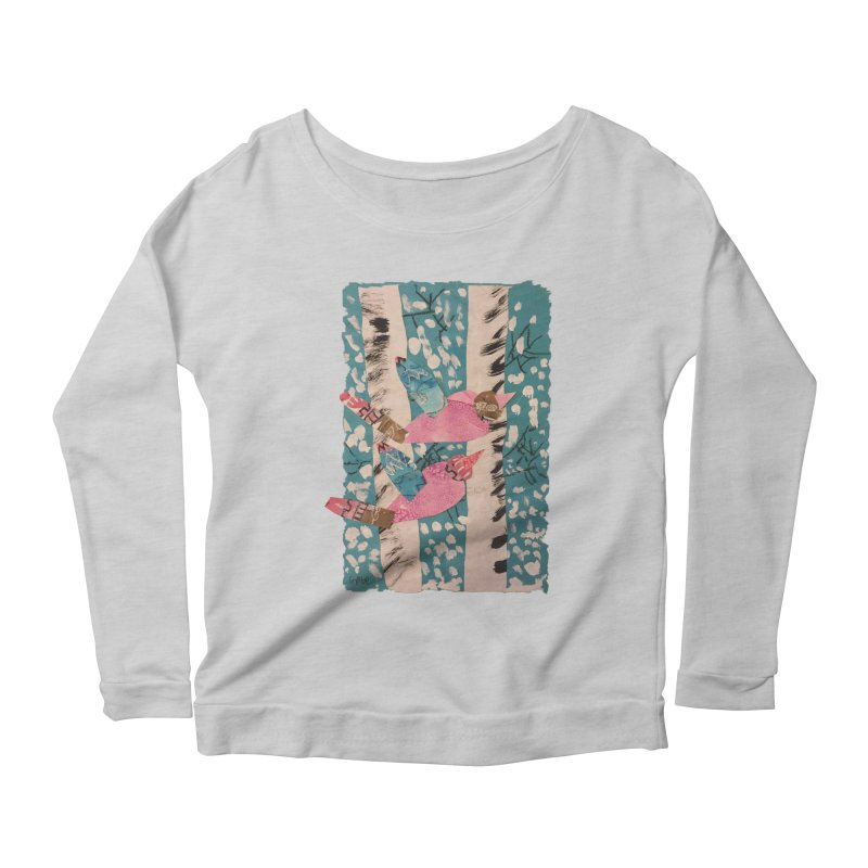 Snowy Aspen Birds Women's Longsleeve Scoopneck  by Gabe and Taytay Artist Shop