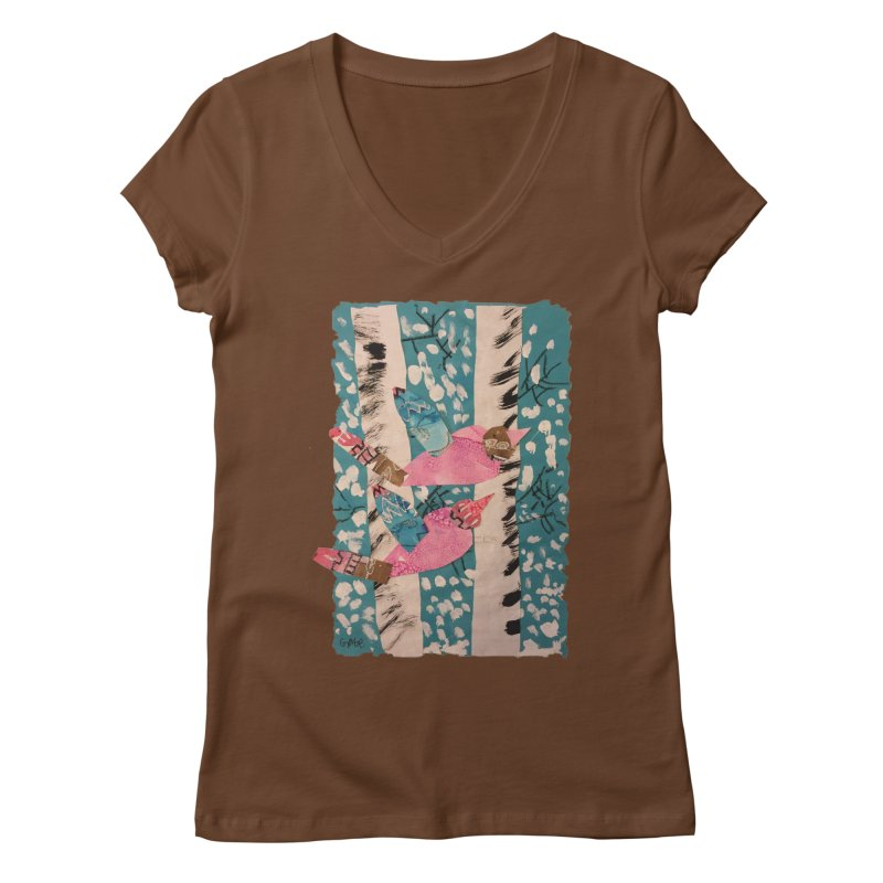 Snowy Aspen Birds Women's V-Neck by Gabe and Taytay Artist Shop