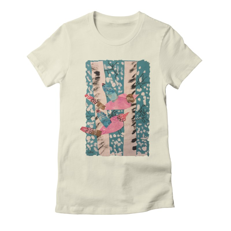 Snowy Aspen Birds Women's Fitted T-Shirt by Gabe and Taytay Artist Shop