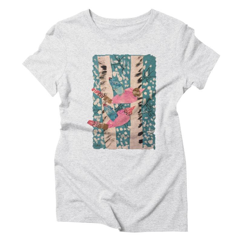 Snowy Aspen Birds Women's Triblend T-Shirt by Gabe and Taytay Artist Shop