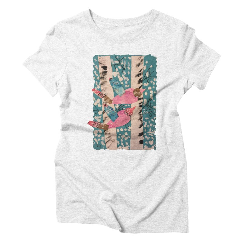 Snowy Aspen Birds Women's Triblend T-shirt by Gabe and Taytay Artist Shop