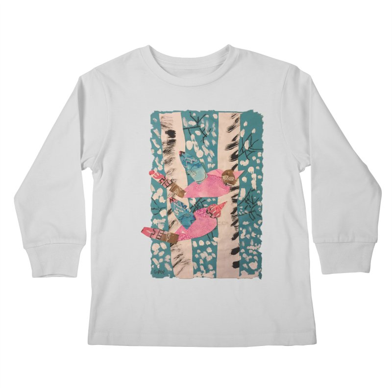 Snowy Aspen Birds Kids Longsleeve T-Shirt by Gabe and Taytay Artist Shop