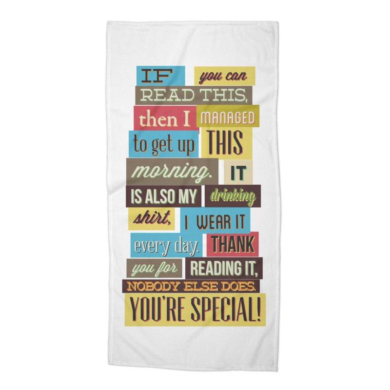 Text Art Accessories Beach Towel by Gab Fernando's Artist Shop