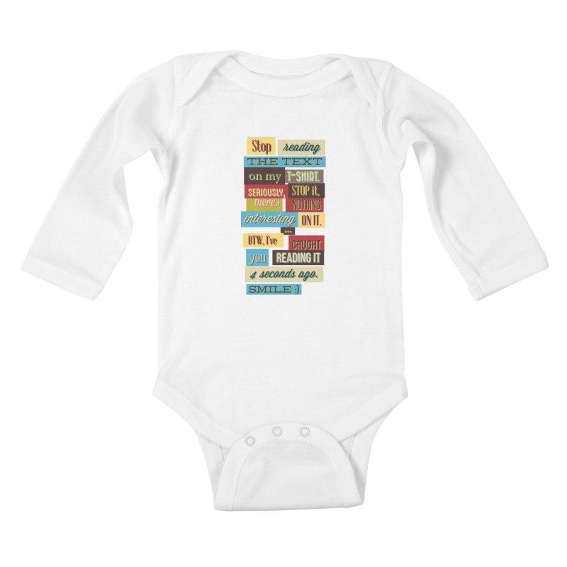 Text Art Kids Baby Longsleeve Bodysuit by Gab Fernando's Artist Shop