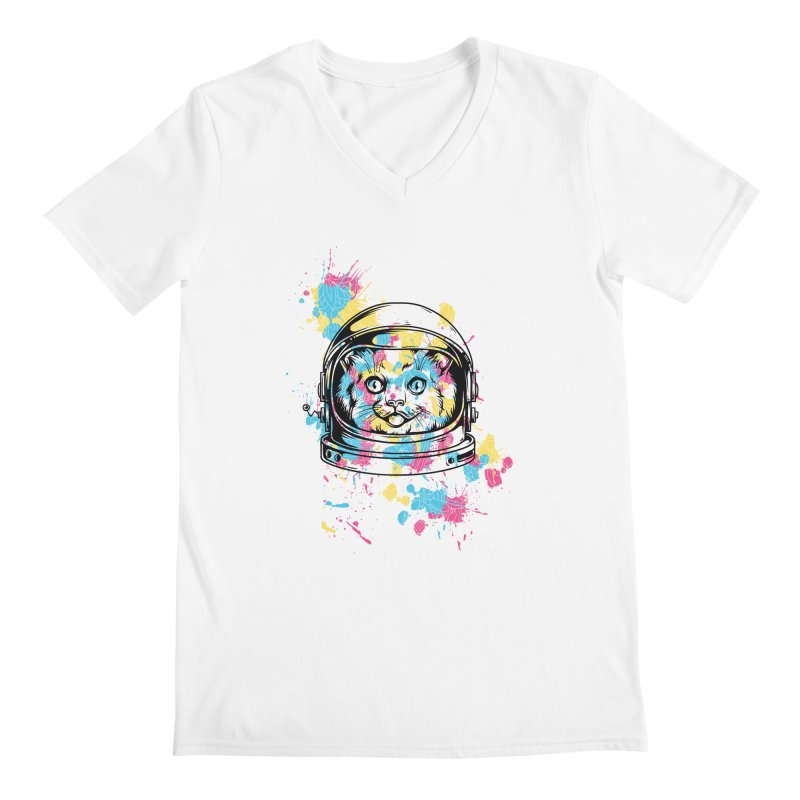 Space Cat Men's V-Neck by Gab Fernando's Artist Shop