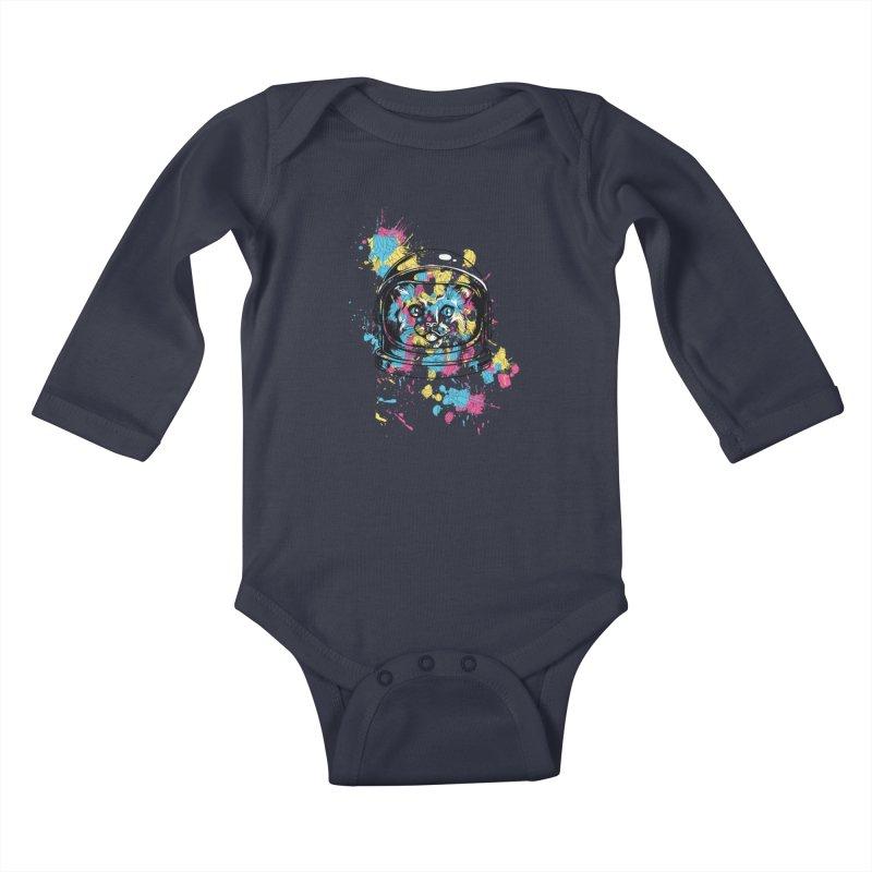 Space Cat Kids Baby Longsleeve Bodysuit by Gab Fernando's Artist Shop