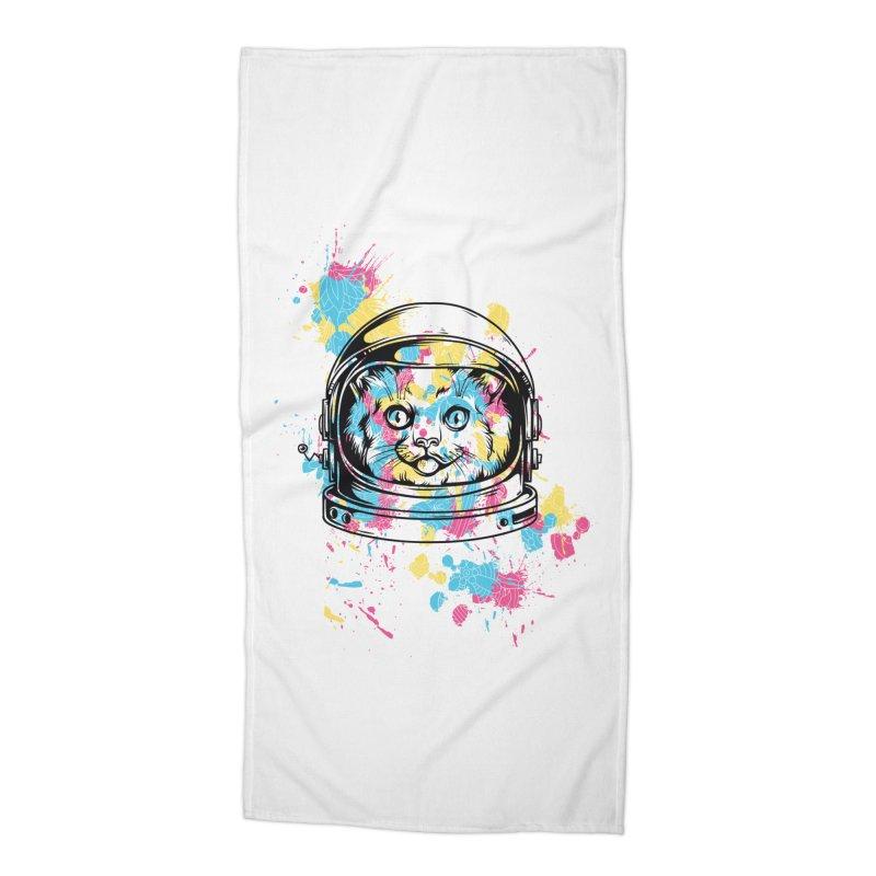 Space Cat Accessories Beach Towel by Gab Fernando's Artist Shop