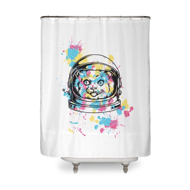 Space Cat Home Shower Curtain by Gab Fernando's Artist Shop