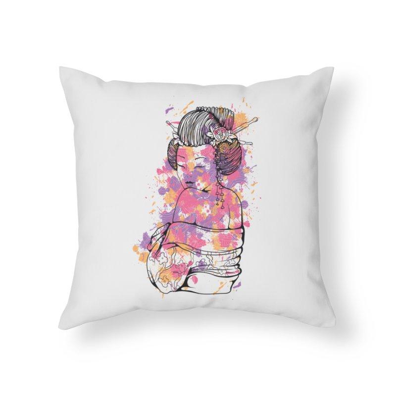 Geisha Home Throw Pillow by Gab Fernando's Artist Shop