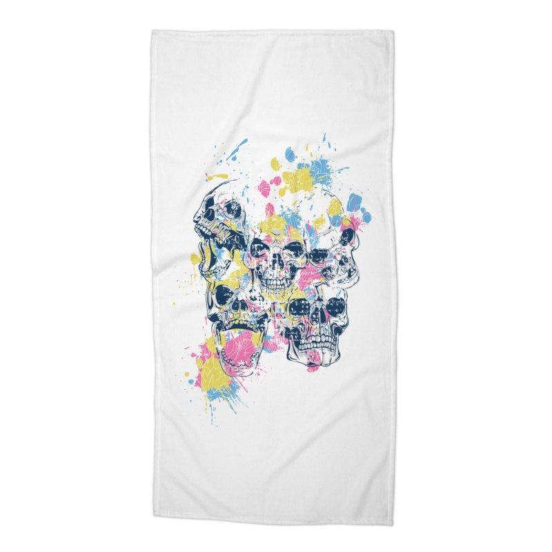 Party Skull Accessories Beach Towel by Gab Fernando's Artist Shop