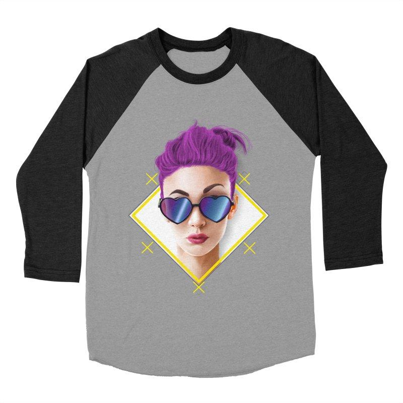 girl_glasses_heart Women's Baseball Triblend Longsleeve T-Shirt by gabifaveri's Artist Shop