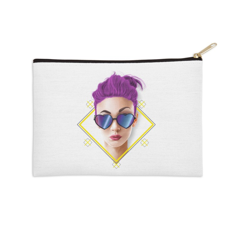 girl_glasses_heart Accessories Zip Pouch by gabifaveri's Artist Shop