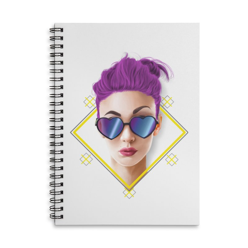 girl_glasses_heart Accessories Lined Spiral Notebook by gabifaveri's Artist Shop